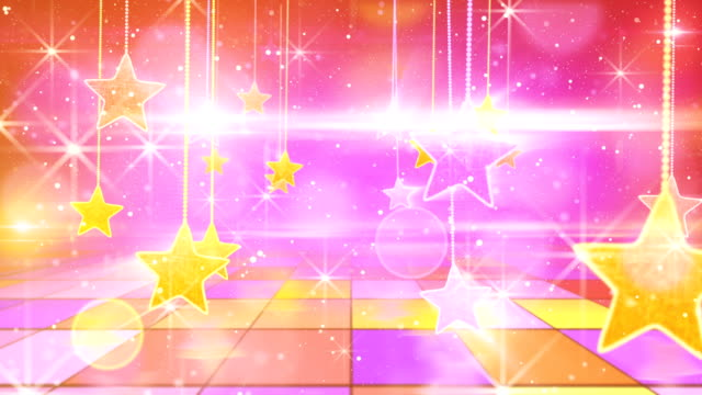 flying past by multicolored hanging stars loopable video