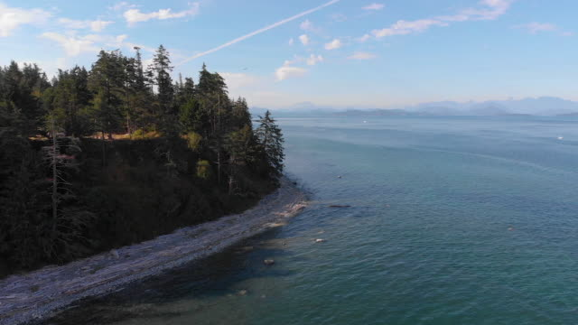 vídeos de stock e filmes b-roll de flying past coastal island - oceano pacífico