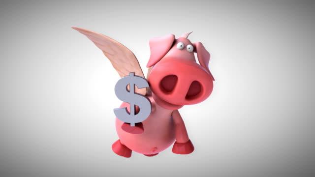 fliegendes schwein - computer-animation - schwein stock-videos und b-roll-filmmaterial