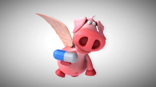 Flying pig - computer animation video