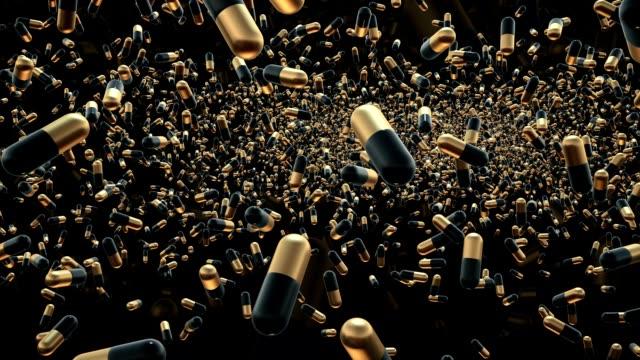 Flying pills on black video