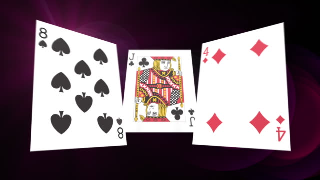 Flying Poker Cards With Abstract Background video