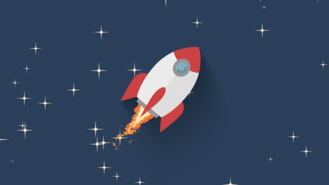 flying rocket in space  animation video