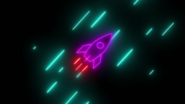 Flying rocket sign in neon glowing style. Seamless abstract background animation