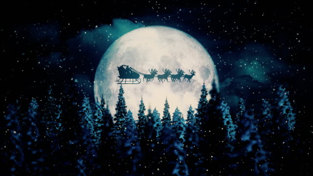 vídeos de stock e filmes b-roll de flying santa claus on christmas night - pai natal