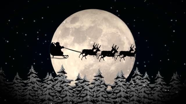 vídeos de stock e filmes b-roll de flying santa claus - christmas card