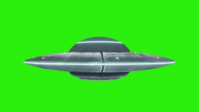 ufo - flying saucer with blue lights rotating infinite repeat loop - isolated on green screen background - piattino video stock e b–roll
