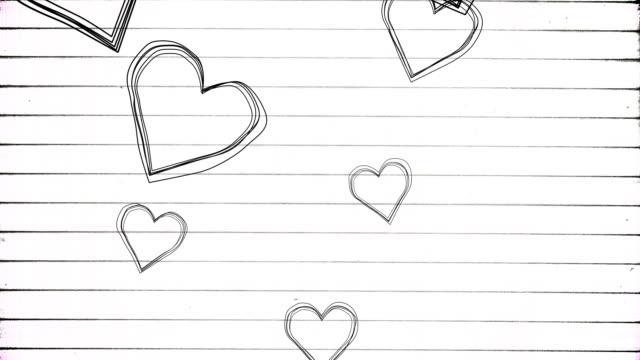 stockvideo's en b-roll-footage met flying sketch hearts on paper - doodles