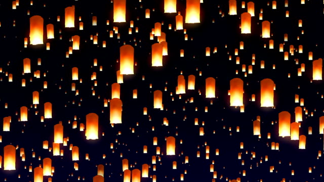 flying sky lanterns in the night sky - lanterna attrezzatura per illuminazione video stock e b–roll