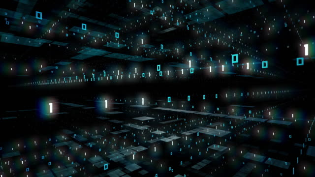 Flying Through Binary Code - Black, Loopable Animation - Computer Software, Artificial Intelligence, Big Data