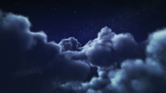 Flying through clouds at night. Loopable. video