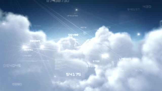 Flying through clouds with network connections. Day. Loopable. video