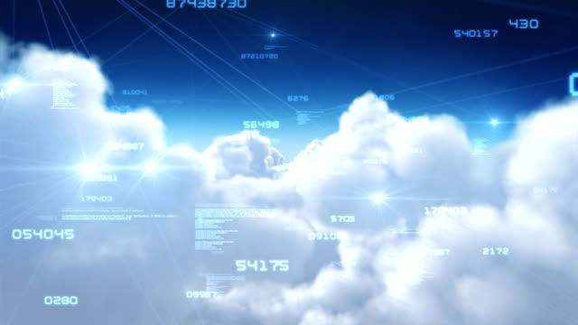 Flying through clouds with network connections. Loopable. video