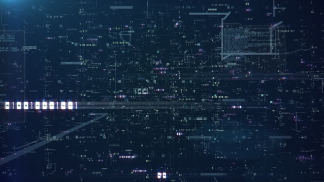 Flying Through Data, in a 3D Space, Showing Codes, Numbers And Bits Of Data On A Dark Background. Created in 4k