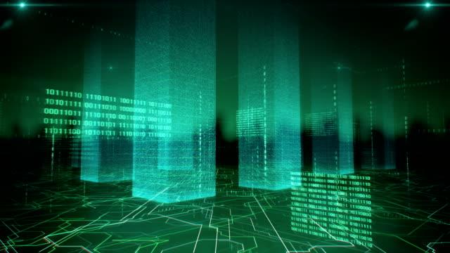 vídeos de stock e filmes b-roll de flying through data structures (green) - loop - green city