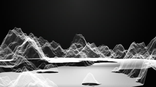 Flying through digital wireframe mountain on dark background, Technology concept video