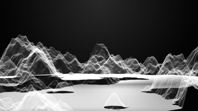 Volar a través de digital alambre montaña sobre fondo oscuro, el concepto de tecnología - vídeo