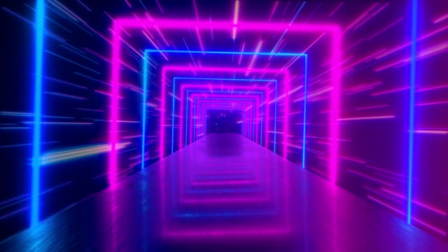 Flying through glowing rotating neon squares creating a tunnel, blue red pink violet spectrum, fluorescent ultraviolet light, modern colorful lighting, 4k loop animation Flying through glowing rotating neon squares creating a tunnel, blue red pink violet spectrum, fluorescent ultraviolet light, modern colorful lighting, 4k loop animation square composition stock videos & royalty-free footage