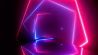 istock Flying through glowing rotating neon squares creating a tunnel, blue red pink spectrum, fluorescent ultraviolet light, modern colorful lighting, Loopable 4K animation 1180472070