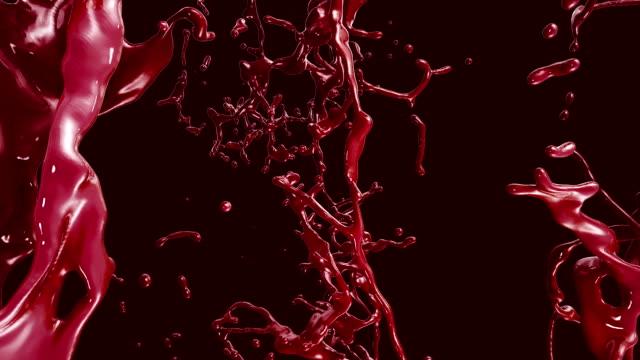 Flying through Ketchup, Blood, Red liquid Splashing. video
