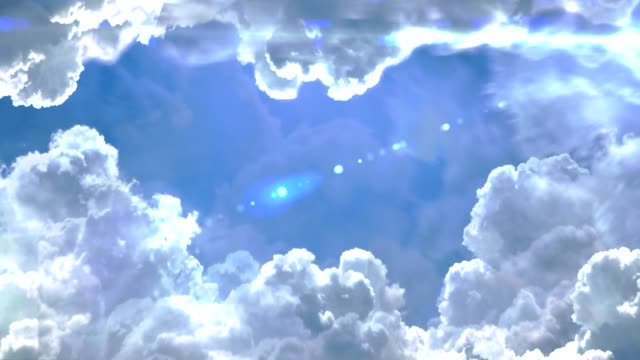 flying through the clouds in the sky with lens flare 3d animation - paradiso video stock e b–roll