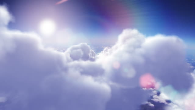 Flying through the sky with fluffy clouds. Shiny sun. Loopable. video