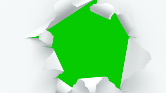 flying through the tearing paper sheets on green screen. looped 3d animation of sheets of paper breaking through in the center. - muro video stock e b–roll