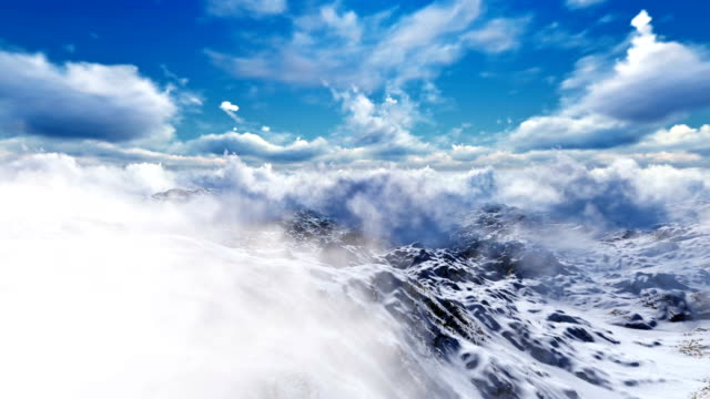 Flying Trough  Clouds over the Mountains with Blue Sky video