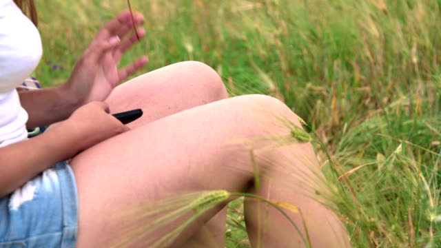 Flying up ladybird on female hand video
