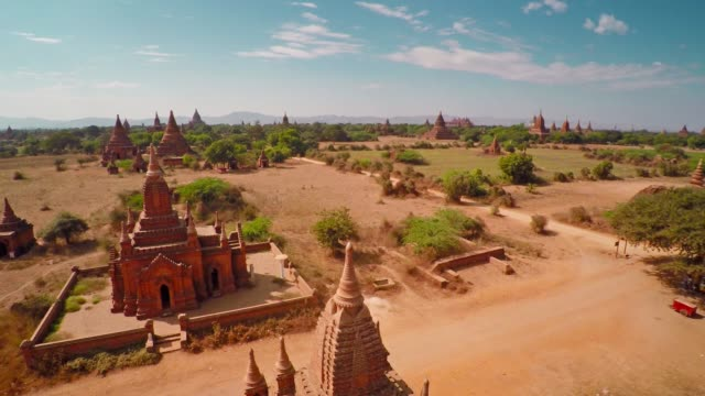 Flying up over Temples in Bagan, Myanmar 4k video