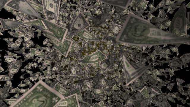 4k fliegende us-dollar-währung zeitlupe, ansicht von oben - dollarsymbol stock-videos und b-roll-filmmaterial