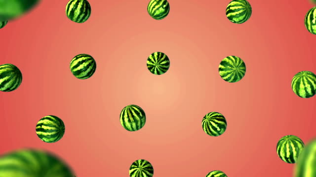 Flying watermelon on white gradient background video