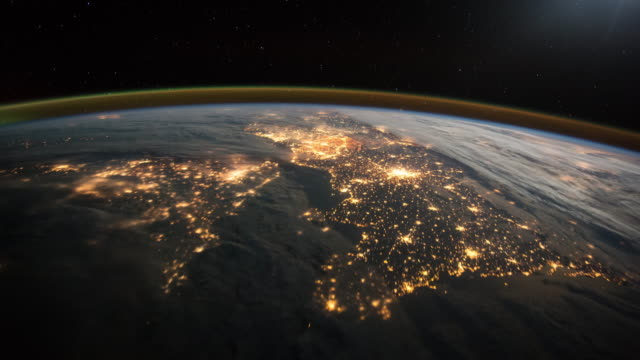 Flyover France, England and Northern Ireland. View from space. Image courtesy of the Earth Science and Remote Sensing Unit, NASA Johnson Space Center. power stock videos & royalty-free footage