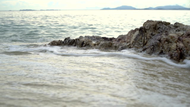 Foamy sea wave on sandy beach video