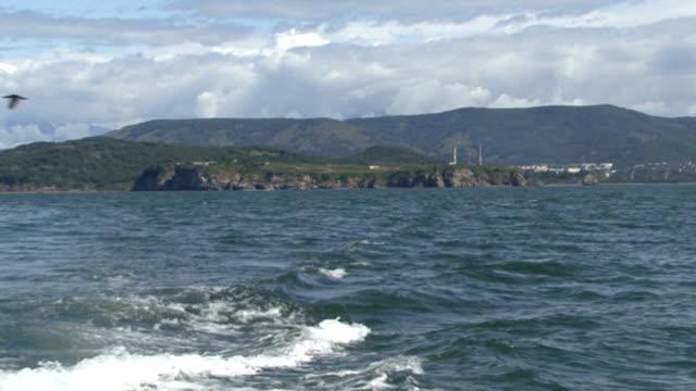 Foamy trace from a boat. Boat trip video