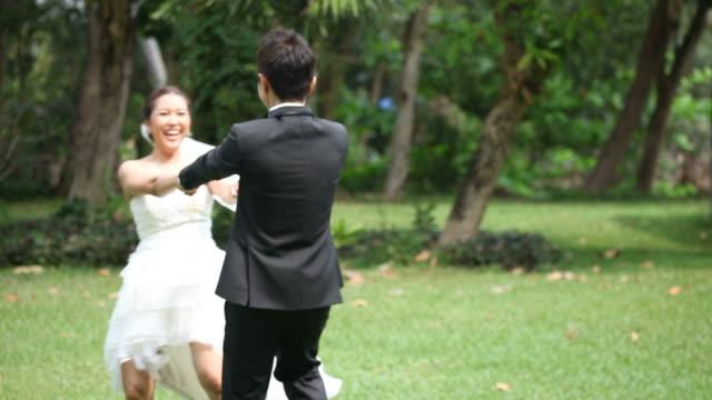 Focus in: Happy Bride and groom at Wedding Dance video