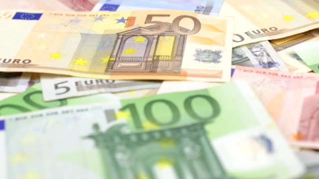 Focus on near and distant euro bills. video