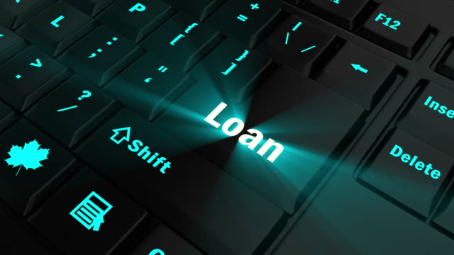 focus on the blue glowing Loan button