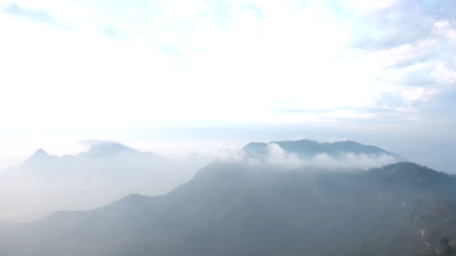 fog and cloud mountain valley landscape.Thailand video