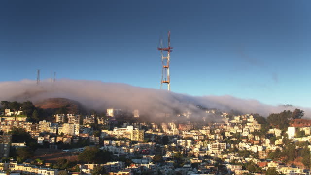 Fog Bank Rolling Between Sutro Tower and The Castro, San Francisco - Drone Shot video