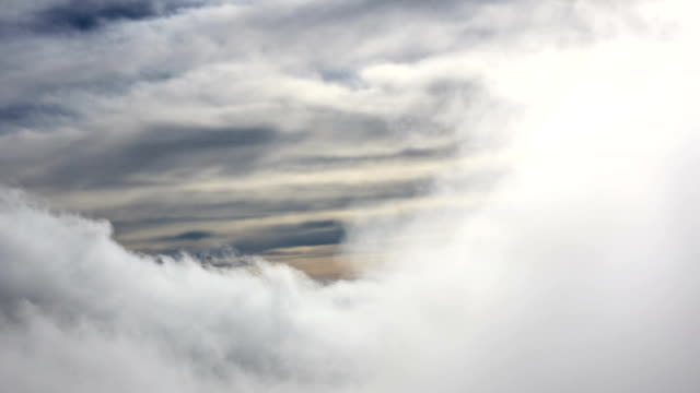 Fog covers mountains and clouds in nature