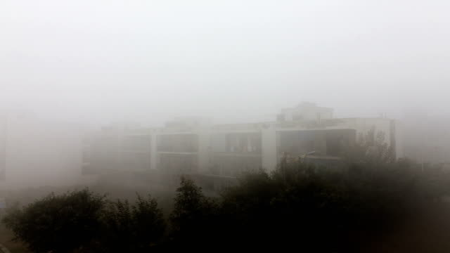fog during winter season - smog video stock e b–roll