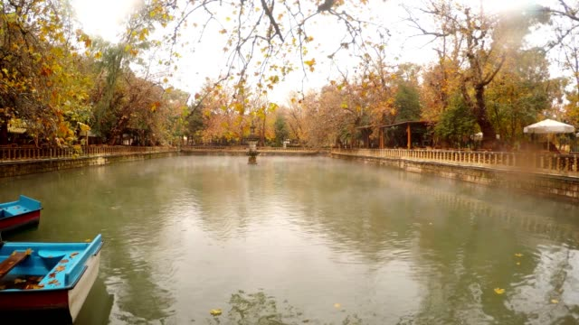Fog Floats under Pond with Fountain in Centre around Green and Yellow Trees Park Urfa video