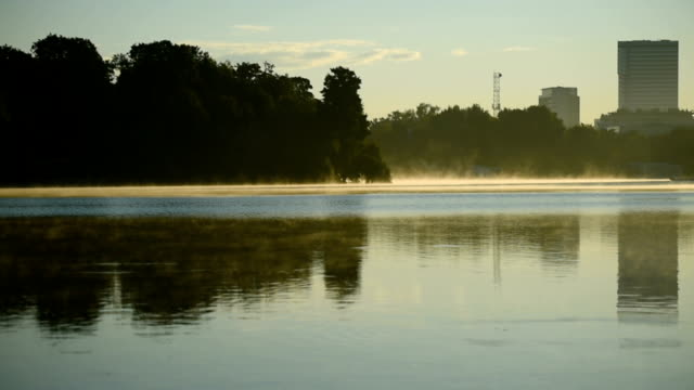 Fog on a lake in the morning video
