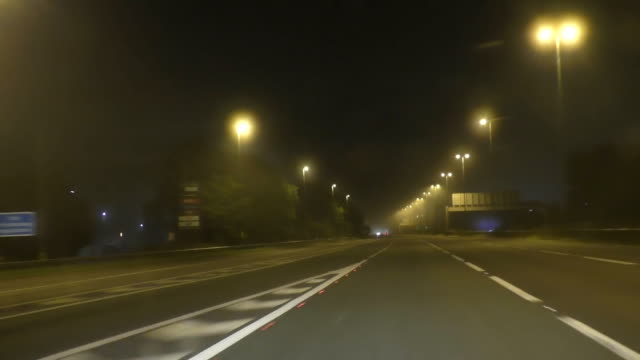 fog on highway at night - english video stock e b–roll