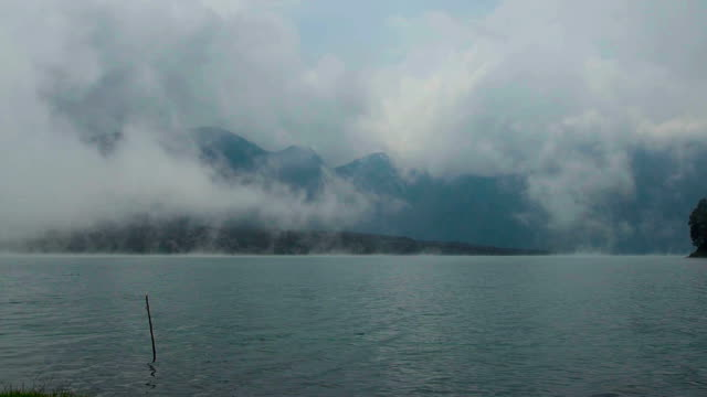 Fog over volcanic lake, Mt Rinjani video