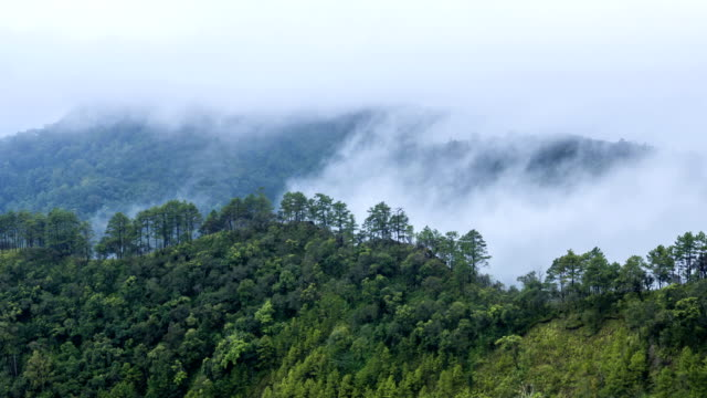 Fog rolls across flowing over Mountains,Time lapse video