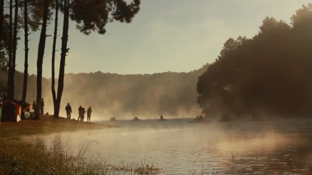 fog sunrise on the lake video