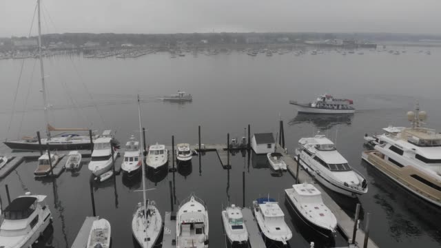 Foggy Aerial Flyover of Portland Maine Harbor and Marina video