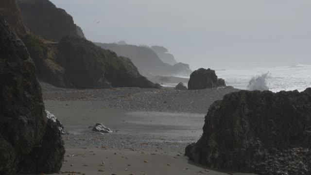 Foggy Big Sur Pacific Waves Crashing video